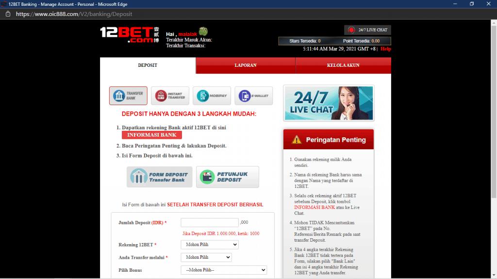 pembayaran di 12bet com